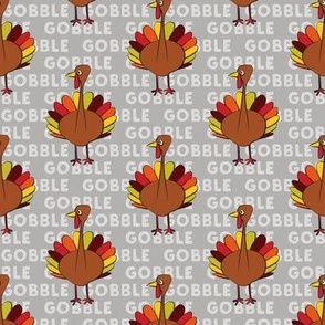 gobble gobble - thanksgiving turkey on grey