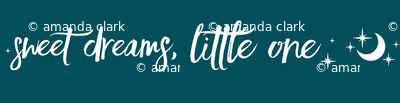 SMALL sweet Dreams, Little One, moon and stars - white on dark teal