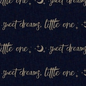 Halfscale Sweet Dreams Little One - tan on navy linen - moon and stars