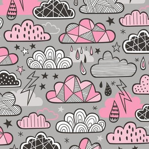 Clouds Bolts Lightning Raindrops Geometric Patterned Cloud Doodle Pink on Grey