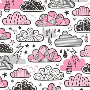 Clouds Bolts Lightning Raindrops Geometric Patterned Cloud Doodle Pink