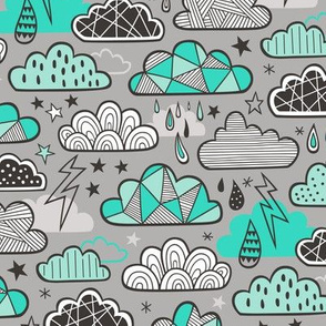 Clouds Bolts Lightning Raindrops Geometric Patterned Cloud Doodle Green on Grey