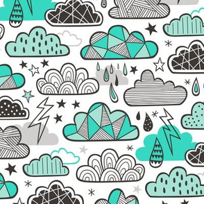 Clouds Bolts Lightning Raindrops Geometric Patterned Cloud Doodle Green