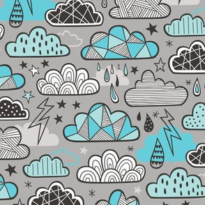Clouds Bolts Lightning Raindrops Geometric Patterned Cloud Doodle Light Blue on Grey