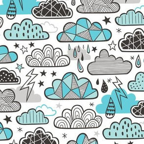 Clouds Bolts Lightning Raindrops Geometric Patterned Cloud Doodle Light Blue