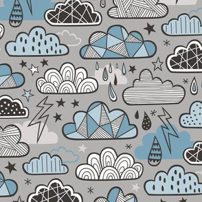 Clouds Bolts Lightning Raindrops Geometric Patterned Cloud Doodle Blue Denim on Grey