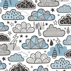 Clouds Bolts Lightning Raindrops Geometric Patterned Cloud Doodle Blue Denim