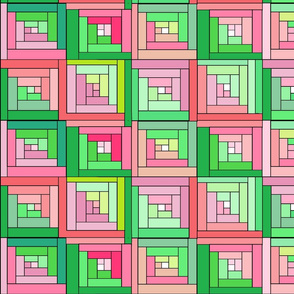 Green Pink Cheater Quilt Top