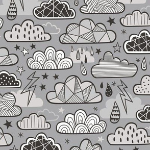 Clouds Bolts Lightning Raindrops Geometric Patterned Cloud Doodle Black & White Grey On Grey