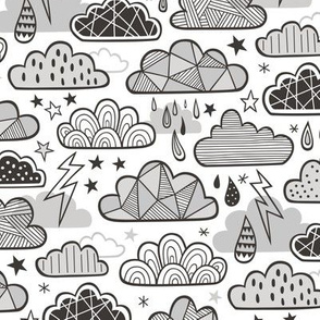 Clouds Bolts Lightning Raindrops Geometric Patterned Cloud Doodle Black & White Grey