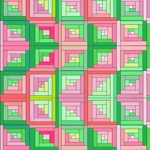 Pink Green Quilt Top