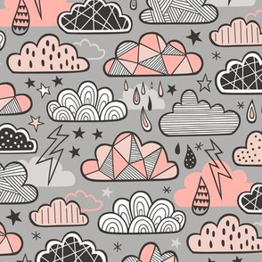 Clouds Bolts Lightning Raindrops Geometric Patterned Cloud Doodle Peach on Grey