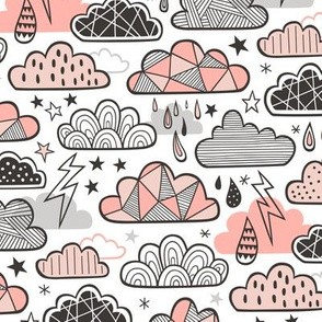 Clouds Bolts Lightning Raindrops Geometric Patterned Cloud Doodle Peach
