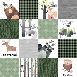 Woodland Critters Patchwork Quilt - Bear Moose Fox Raccoon Wolf, Forest Green Design GingerLous