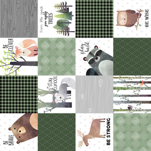 Woodland Critters Patchwork Quilt - Bear Moose Fox Raccoon Wolf, Forest Green Design GingerLous, ROTATED