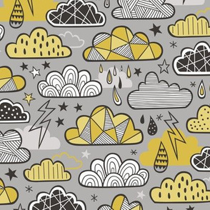 Clouds Bolts Lightning Raindrops Geometric Patterned Cloud Doodle Mustard Yellow on Grey