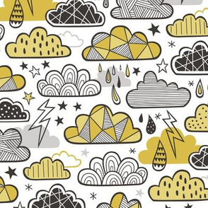 Clouds Bolts Lightning Raindrops Geometric Patterned Cloud Doodle Mustard Yellow