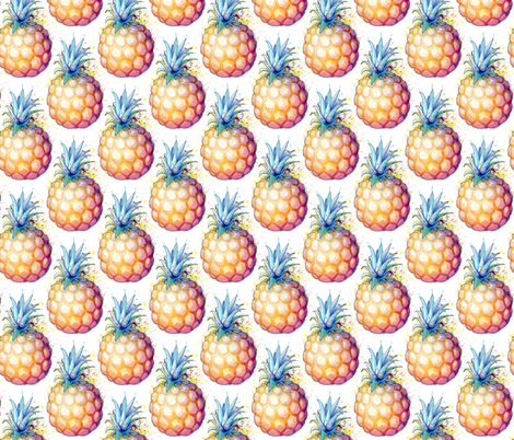 Fat Pineapple - blue green fabric by sam_nagel on Spoonflower - custom fabric