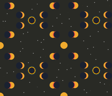 Solar Eclipse, View from Moon fabric by anneostroff on Spoonflower - custom fabric