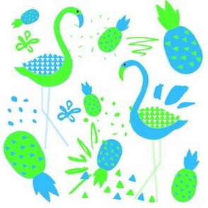 "6"" Mod Flamingos - Blue & Green"