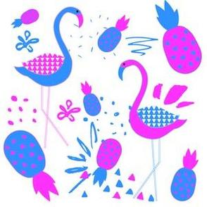 "6"" Mod Flamingos - Blue & Pink"