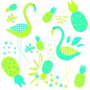 """6"""" Mod Flamingos - Green & Aqua"""
