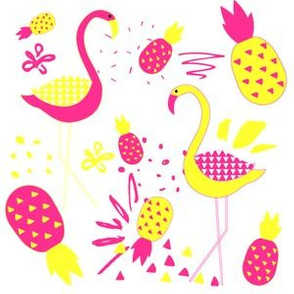 "6"" Mod Flamingos - Pink & Yellow"