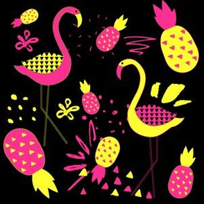 "6"" Mod Flamingos - Pink & Yellow on Black"
