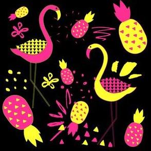 "6"" Mod Flamingos - Pink & Yellow on Black"