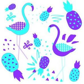 "6"" Mod Flamingos - Purple & Aqua"