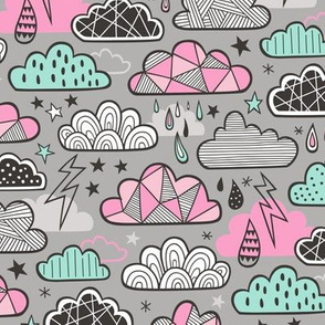 Clouds Bolts Lightning Raindrops Geometric Patterned Cloud Doodle Pink Mint Green on Grey