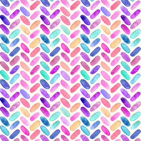 Rainbow Herringbone Watercolor Oblongs Small Version fabric by micklyn on Spoonflower - custom fabric
