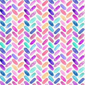 Rainbow Herringbone Watercolor Oblongs Small Version