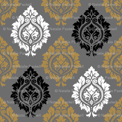 Decorative Damask Pattern Black White Gold Gray