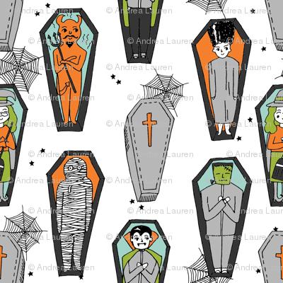 Coffins illustration pattern dracula mummy frankenstein by andrea lauren white orange