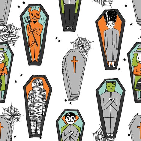 Coffins illustration pattern dracula mummy frankenstein by andrea lauren white orange fabric by andrea_lauren on Spoonflower - custom fabric
