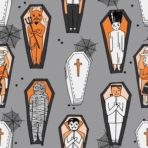 Coffins illustration pattern dracula mummy frankenstein by andrea lauren orange grey