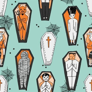 Coffins illustration pattern dracula mummy frankenstein by andrea lauren mint orange