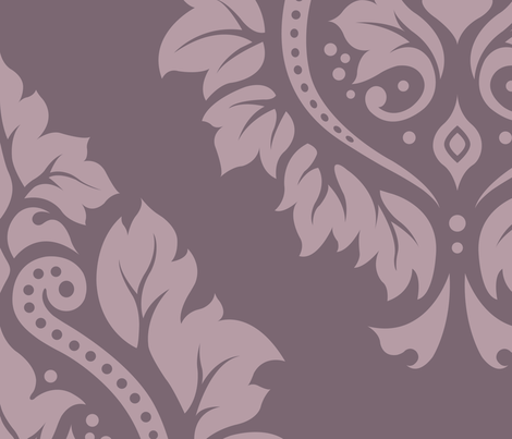 Decorative Damask Pattern Lt on Mid Mauve fabric by natalie_paskell on Spoonflower - custom fabric