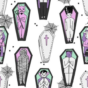 Coffins illustration pattern dracula mummy frankenstein by andrea lauren white purple