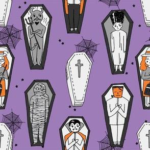 Coffins illustration pattern dracula mummy frankenstein by andrea lauren purple