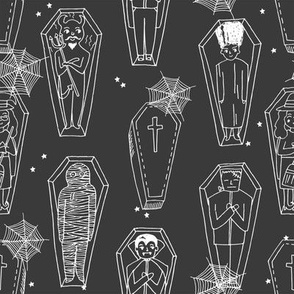 Coffins illustration pattern dracula mummy frankenstein by andrea lauren grey