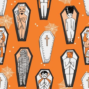 Coffins illustration pattern dracula mummy frankenstein by andrea lauren orange