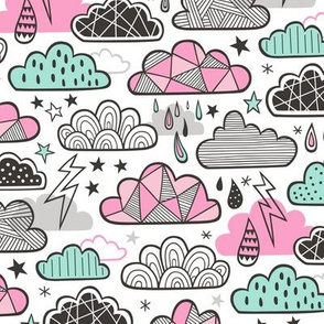 Clouds Bolts Lightning Raindrops Geometric Patterned Cloud Doodle Pink Mint Green