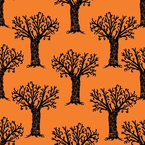 Halloween tree spooky forest by andrea lauren orange