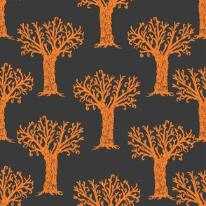 Halloween tree spooky forest by andrea lauren grey and orange