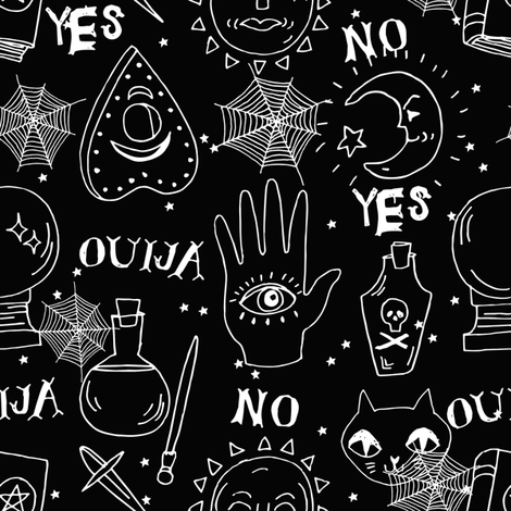 Ouija cute halloween pattern october fall themed fabric black and white print by andrea lauren fabric by andrea_lauren on Spoonflower - custom fabric