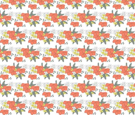Peach Flower fabric by meg_beth on Spoonflower - custom fabric