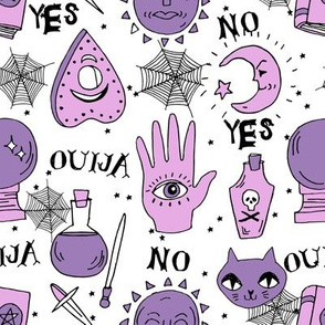 Ouija cute halloween pattern october fall themed fabric print white purple by andrea lauren