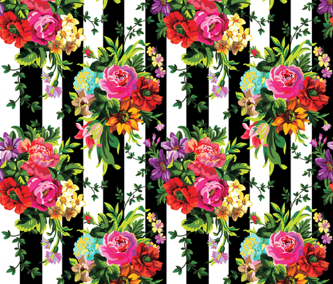 """21"""" FLORAL POP / VERTICAL STRIPES fabric by shopcabin on Spoonflower - custom fabric"""